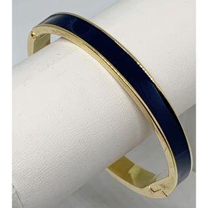 Kate Spade Navy and Gold Hinged Bangle Bracelet